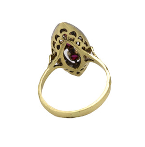 Antique Victorian 18k Yellow Gold 0.46ctw Rose Cut Diamond Ruby Navette Ring