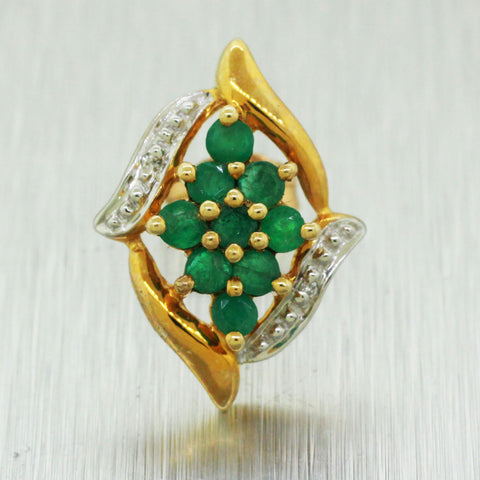 Vintage Estate 10k Solid Yellow Gold 0.90ctw Emerald & Diamond Leaf Earrings
