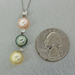 Estate 14k Solid White Gold Triple Pink White Black Pearl Dangle Pendant Necklace