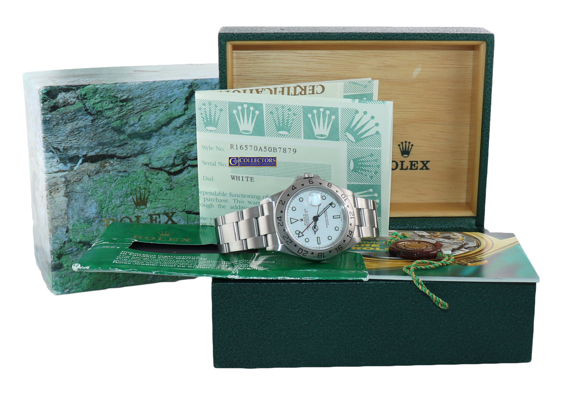 2001 MINT PAPERS Rolex Explorer II White 16570 40mm Polar GMT Watch Box