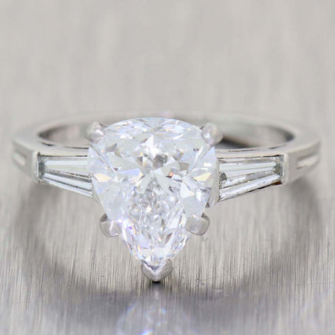 Tiffany & Co. Pear Shape 1.98ct D GIA Diamond Platinum 2.08ctw Engagement Ring t1