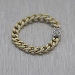 Modern Men's 14k Yellow Gold 0.15ct Diamond Cuban Link Ring