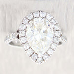 Pear Shape 3.18ct I VS1 GIA Platinum Diamond Halo 3.68ctw Engagement Ring t1