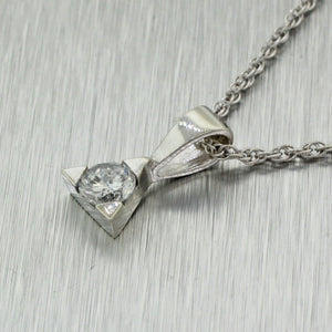 Modern 14k Solid White Gold .30ct H/I1 Diamond Triangle Pendant Necklace