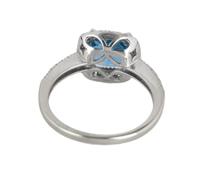Ladies 14K White Gold 7mm Blue Topaz Cushion Cut Diamond Halo Cocktail Ring