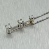 Vintage Estate 14k Solid White Gold Triple .45ct Diamond Pendant Necklace