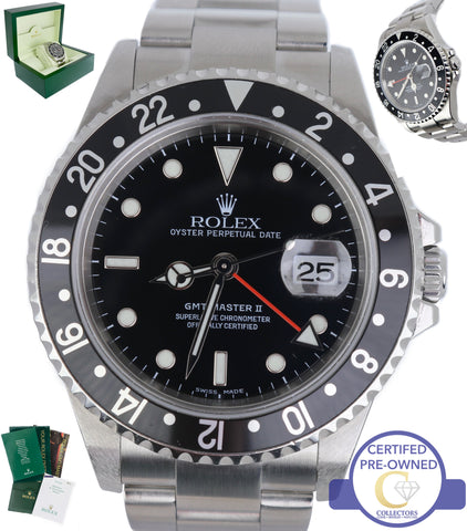 MINT 2005 No Holes Rolex GMT Master II Stainless Black Red 16710 40mm Watch