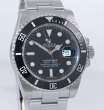 2016 PAPERS Mint Rolex Submariner Date 116610 Steel Black Dive Ceramic Watch Box