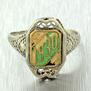 1930 Antique Art Deco 14k White Yellow Gold Filigree Green Enamel Class Ring