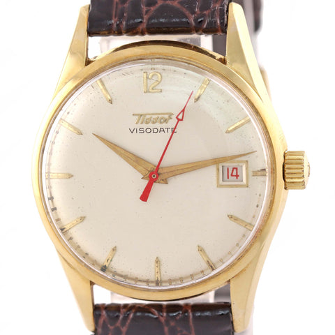 Vintage Tissot Visodate Solid 18k Yellow Gold Manual Wind 34mm Date Watch A9
