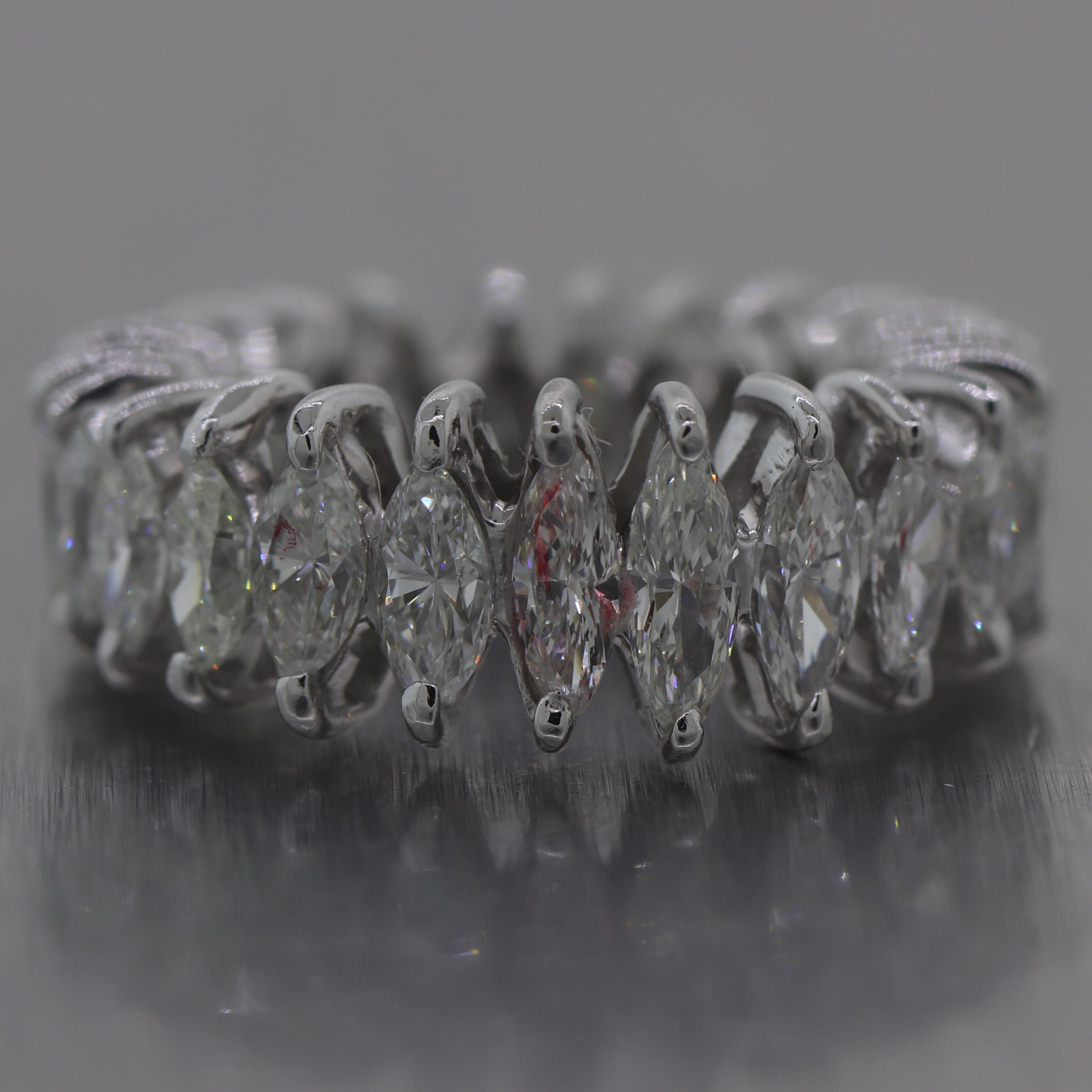 Vintage Estate Platinum 3.50ctw Marquise Cut Diamond Eternity Wedding Band Ring