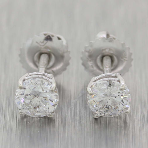Modern 14k White Gold 1.10ctw Diamond Stud Earrings