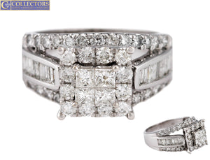 Lovely Ladies 14K White Gold 2.42ctw Princess Cut Diamond Engagement Ring