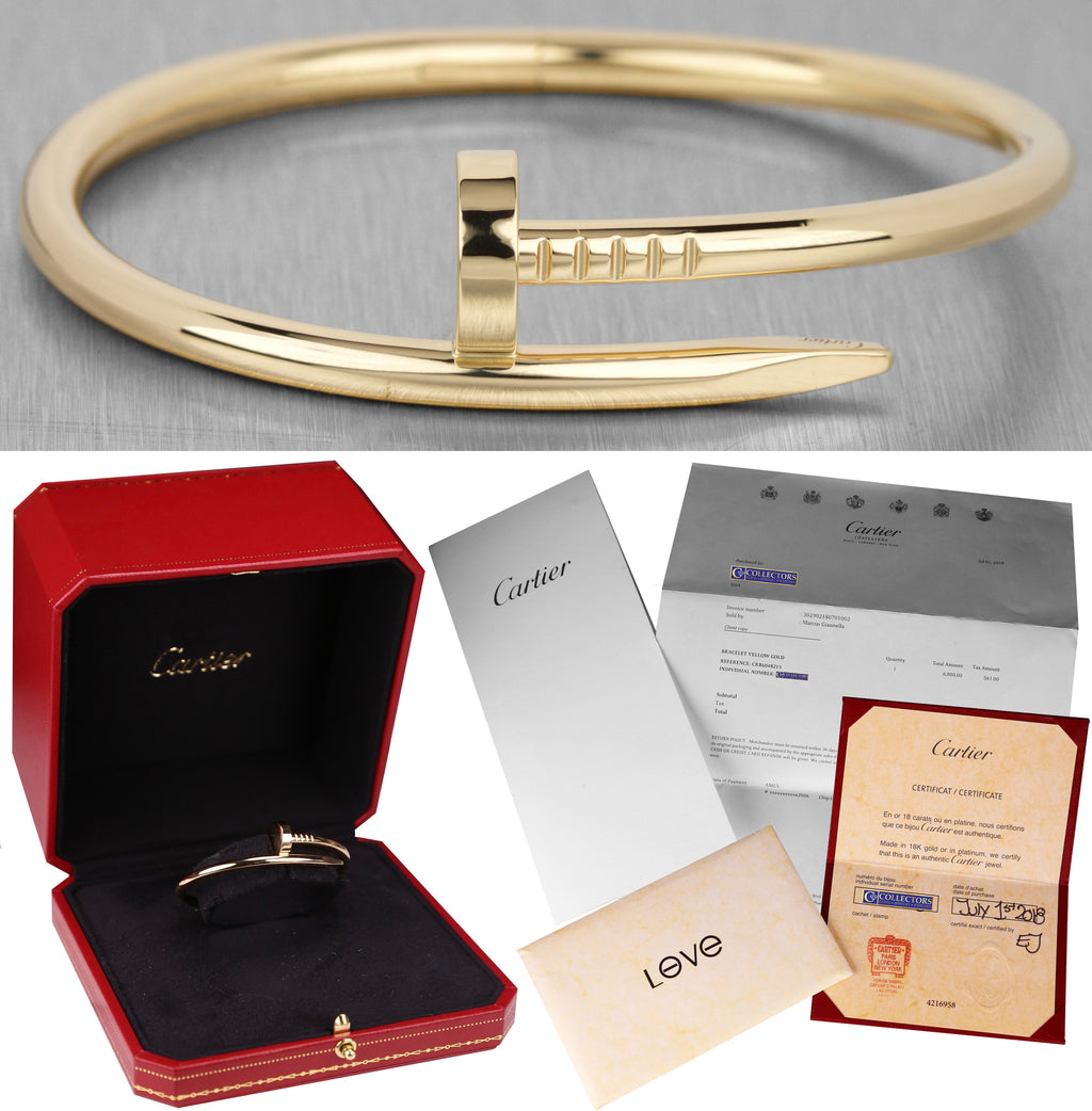 2018 Cartier Juste un Clou Nail Size 15 18K Yellow Gold Bangle Bracelet w/ Box