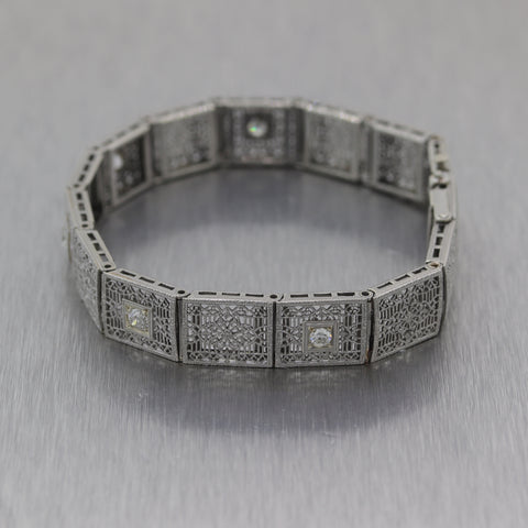 1930 Antique Art Deco Platinum & 14k White Gold .50ctw Diamond Filigree Bracelet