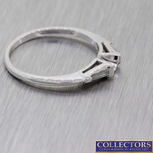 1930s Antique Art Deco 14k White Gold .10ctw Baguette Diamond Band Ring G8