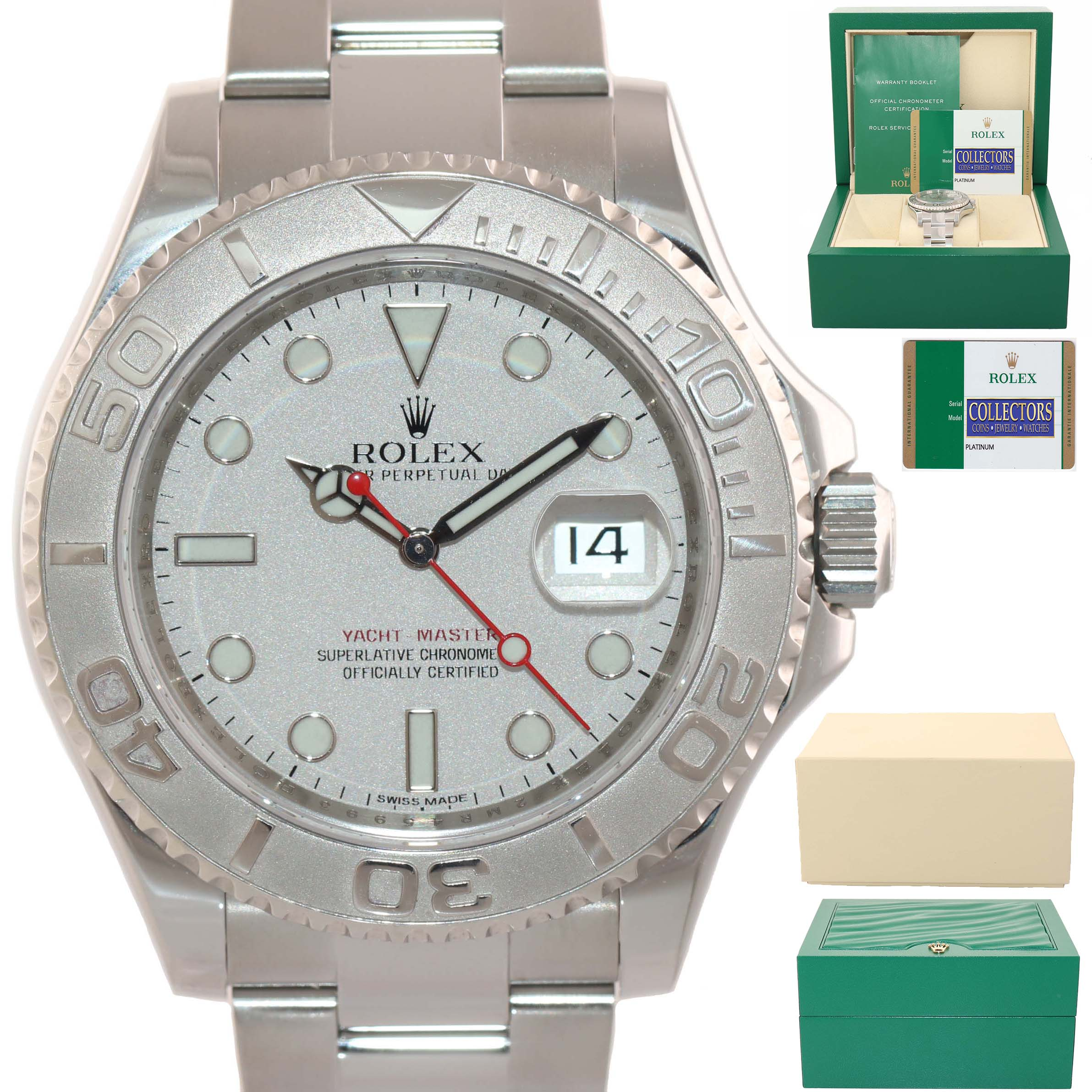 Mint Papers Rolex Yacht Master 116622 Platinum Dial Steel 40mm Watch