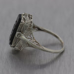 1929 Antique Art Deco 14k White Gold Onyx & Cameo Filigree Ring
