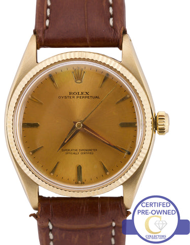 Vintage 1961 Rolex Oyster Perpetual Tropical 14K Yellow Gold Swiss Watch 1005