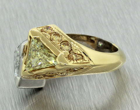 Vintage EGL 18k Yellow Gold Platinum 4.73ctw Trillion White Yellow Diamond Ring