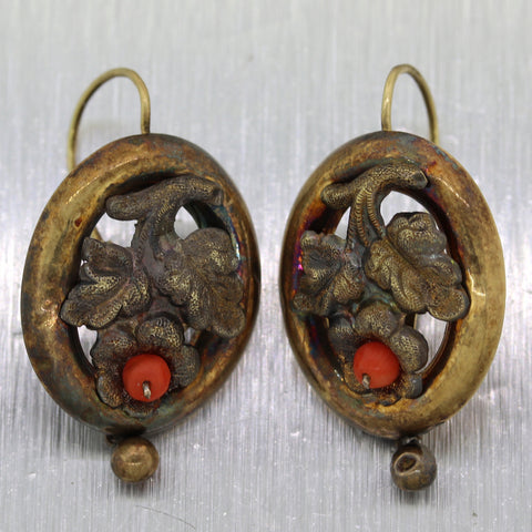 1850's Antique Victorian 14k Yellow Gold Coral Flower Dangle Earrings
