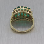 Vintage Estate 14k Yellow Gold 2.35ctw Emerald & Diamond Wedding Band Ring