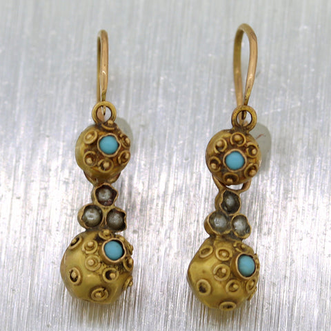 1850's Antique Victorian 14k Yellow Gold Etruscan Turquoise Dangle Earrings