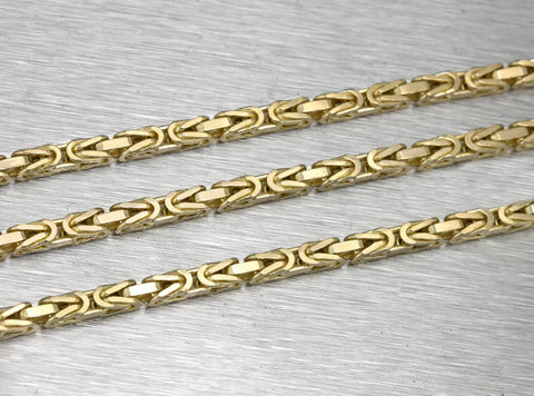 "Men's Solid Italian 14K Yellow Gold 3mm Byzantine Box Chain Link 24.00"" Necklace"