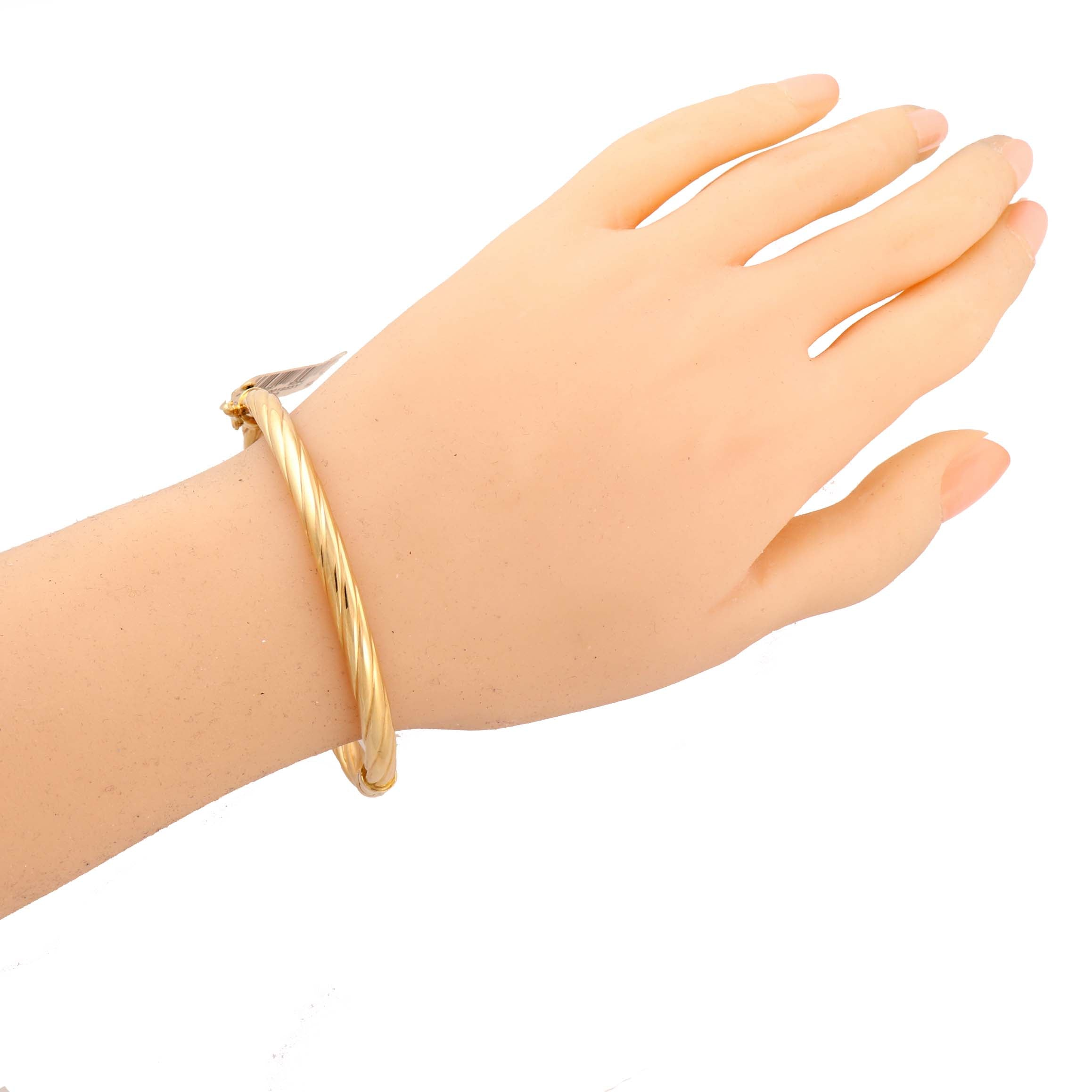 Authentic Ralph Lauren Solid 14k Yellow Gold Bangle Hinged Bracelet $1850 A9