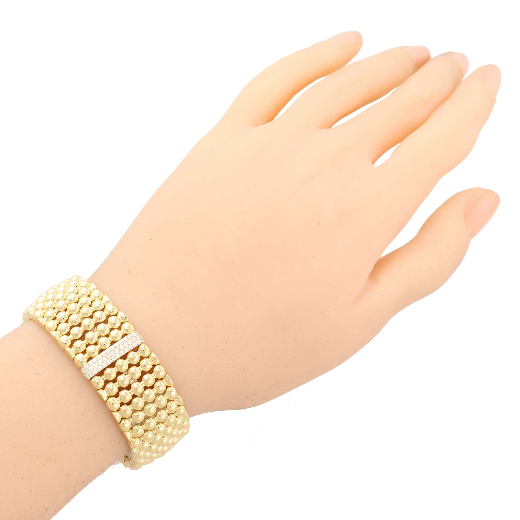 Authentic Lagos Caviar 18k Yellow Gold Diamond Pave 20mm Wide Bracelet $9800 A9