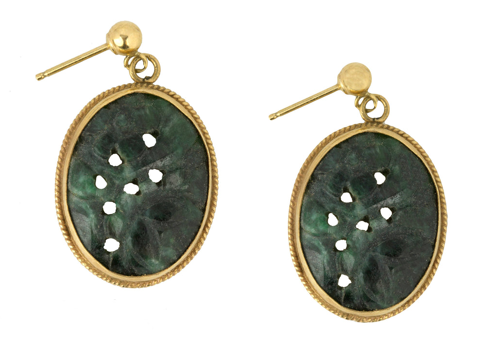 Ladies Antique Art Deco 14K Yellow Gold Hand-Carved 18mm Jade Dangle Earrings