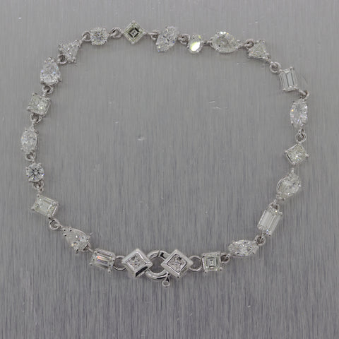 Modern 18k White Gold 6.86ctw Multi Faceted Diamond Tennis Bracelet