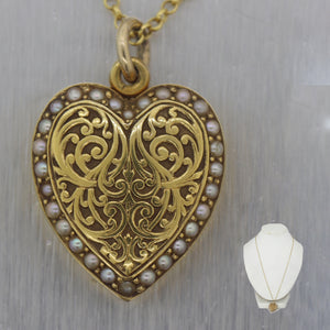 "1890's Antique Victorian 14k Yellow Gold Heart Locket 24"" Necklace"