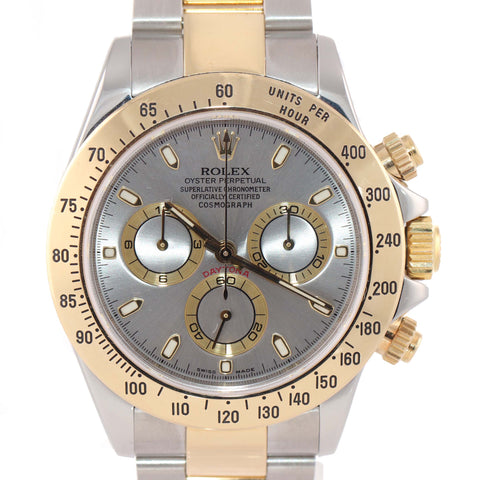 MINT 116523 Rolex Daytona Chronograph Slate Steel 18k Gold Two Tone Watch A9