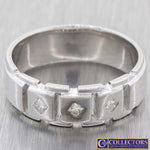 Mens Vintage 18k White Gold .20ctw Princess Diamond 7mm Wedding Band Ring L8