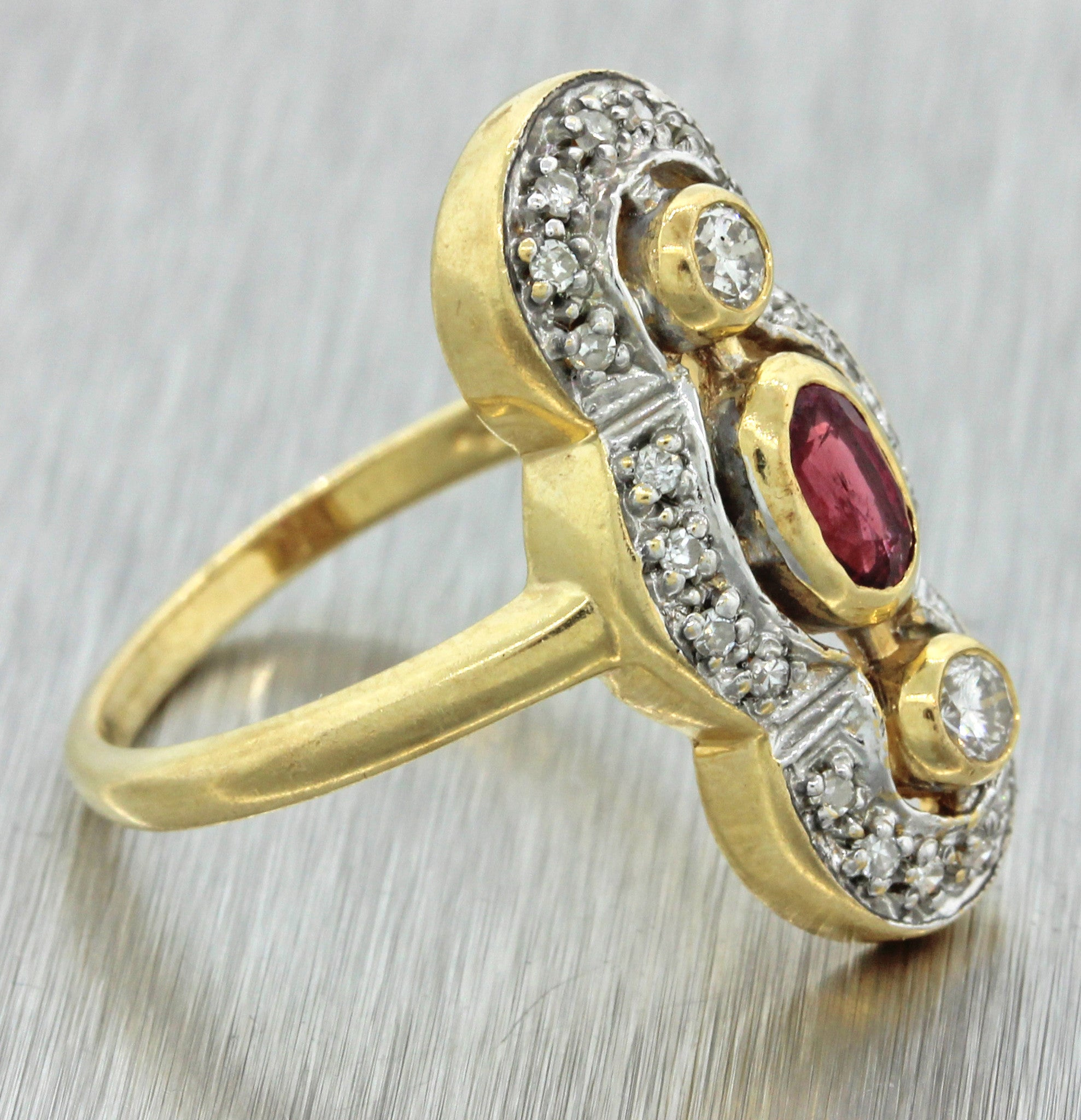 1930s Antique Art Deco 14k Solid Yellow Gold .50ctw Ruby Diamond Ring
