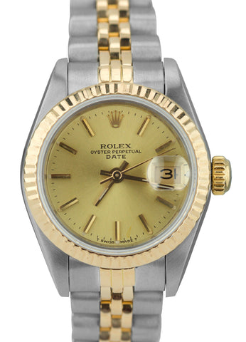 Ladies Rolex Date 24mm 69173 Two-Tone Stainless Champagne Jubilee Watch DateJust