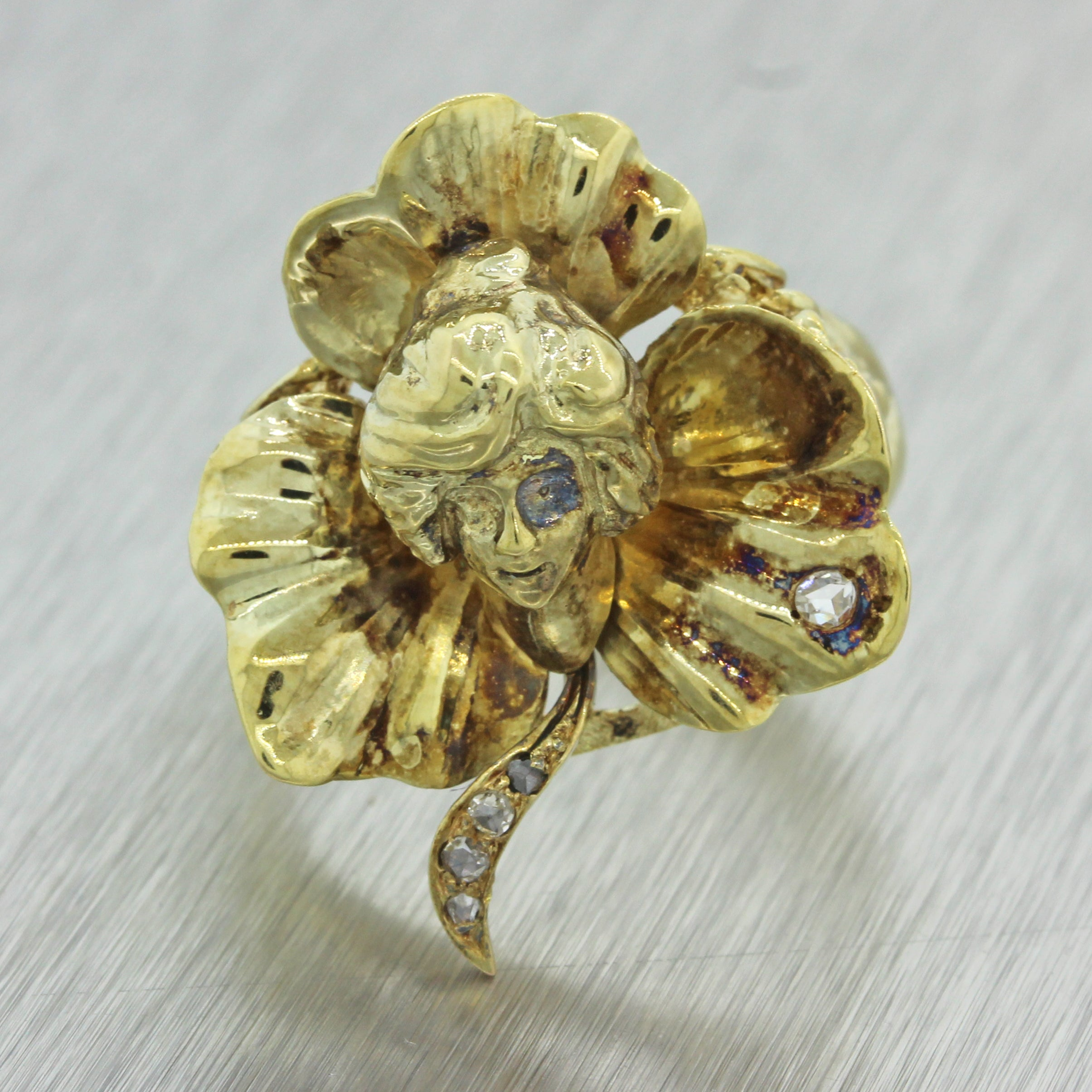 1920s Antique Art Nouveau 14k Solid Yellow Gold Diamond Shamrock Lady Head Ring