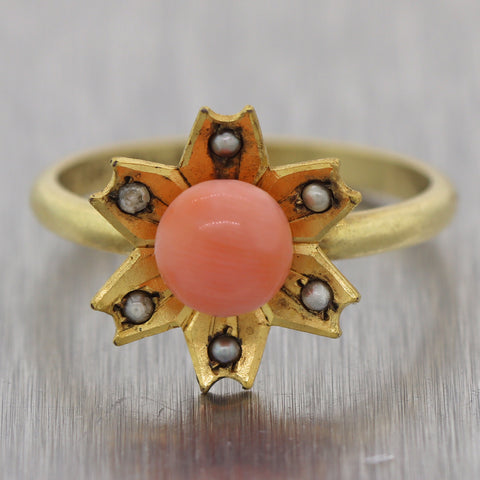 Vintage Estate 18k Yellow Gold 0.75ct Coral & Seed Pearl Ring