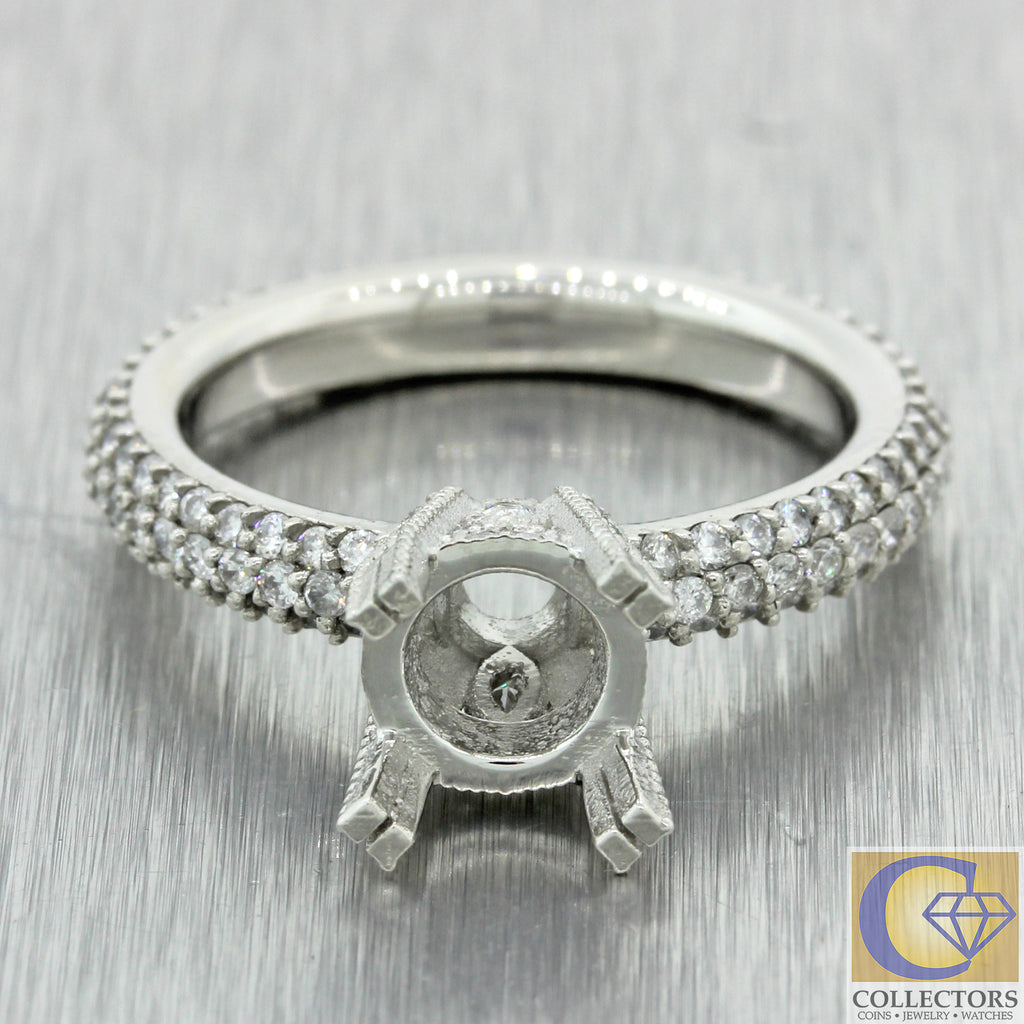 Modern Solid Platinum 1.52ctw G-H/SI1 Diamond Engagement Ring Mounting