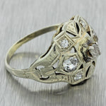 1930s Antique Art Deco 14k Solid White Gold .40ctw Diamond Filigree Dome Ring
