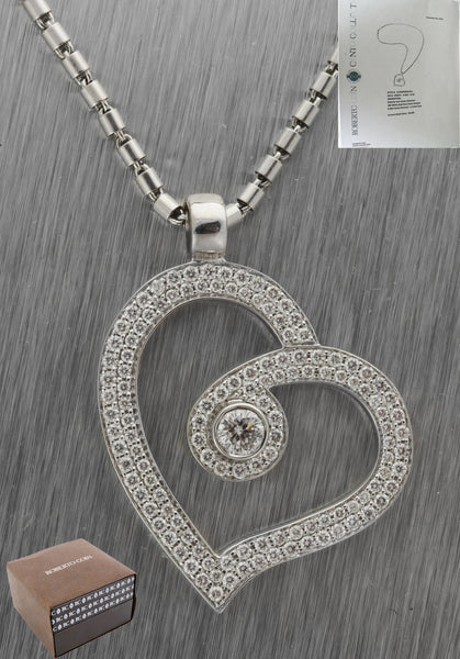 Ladies Roberto Coin Cento Collection 18K White Gold Italy Heart Diamond Necklace