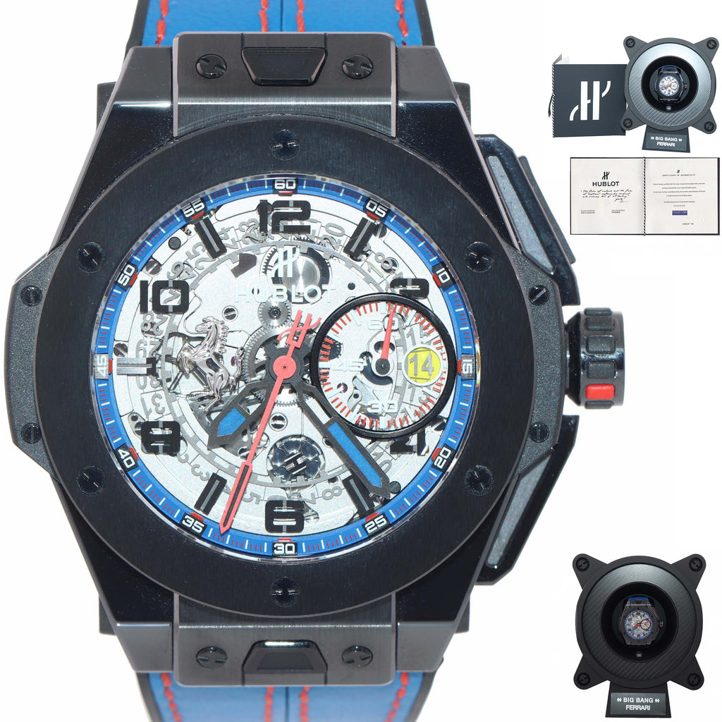 RARE LIMITED OF 50 NEW Hublot Big Bang Unico Ferrari Blue 45mm PVD Carbon Watch