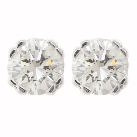 Modern 14k White Gold 1.19ctw Diamond Screw Back Stud Earrings