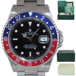 UNPOLISHED Rolex GMT-Master II Pepsi Blue Red Steel 16710 40mm Oyster Watch Box