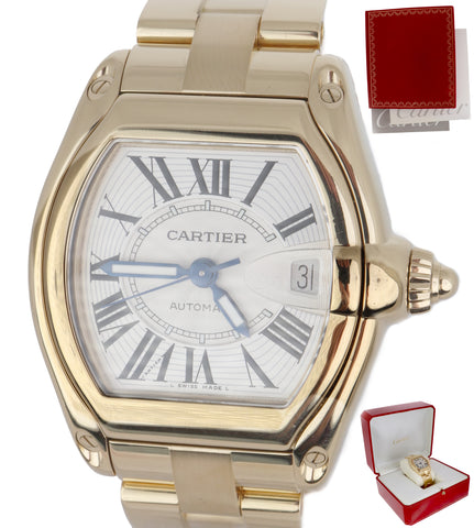 MINT Men's Cartier Roadster XL 18K Yellow Gold Silver Chronograph W620005V2 2524