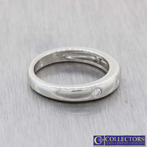 Van Cleef Platinum .32ctw Round Cut Bezel Set Diamond 3mm Wedding Band Ring L8