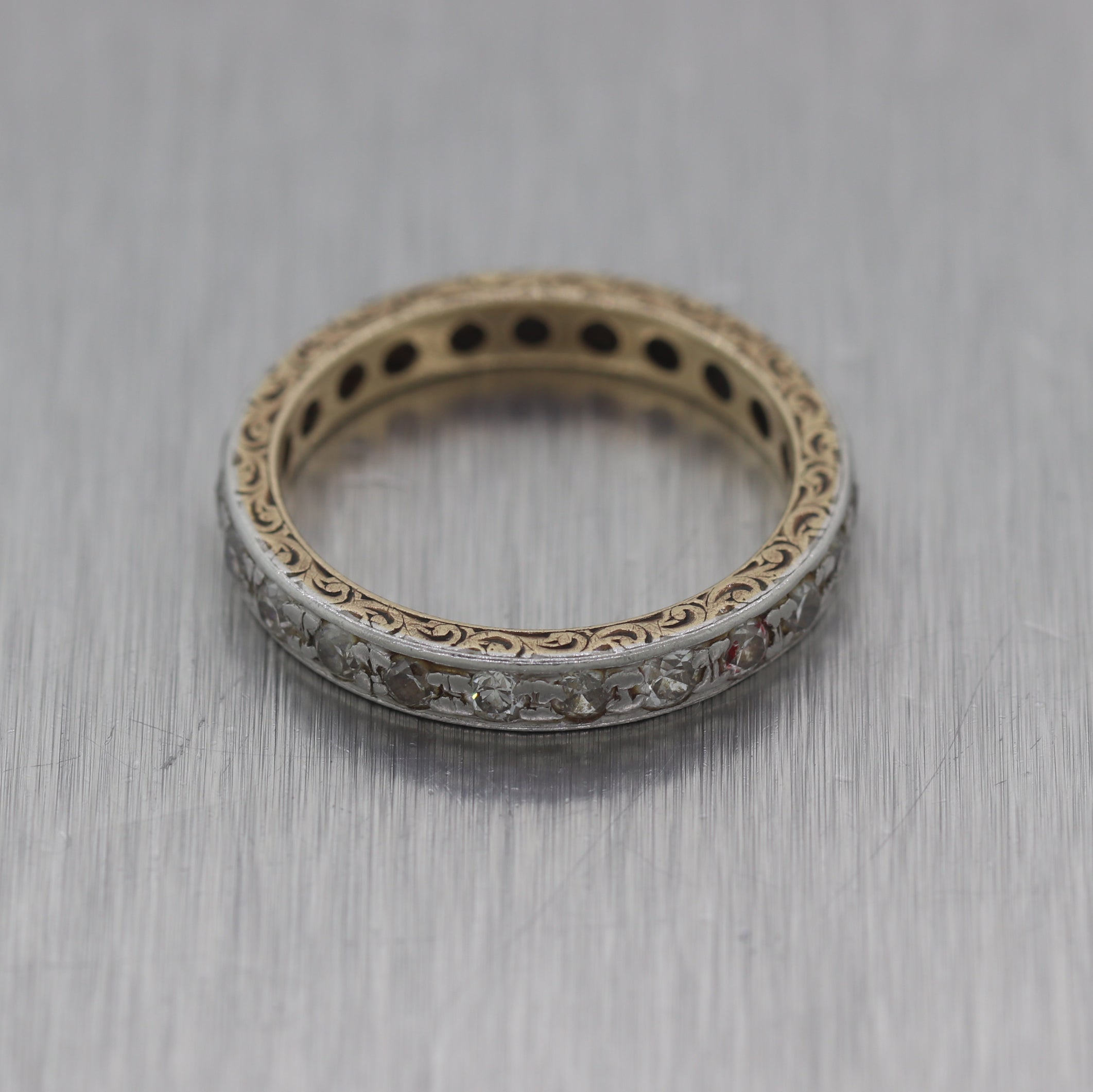 1910s Antique Art Deco Platinum & Gold 0.50ctw Diamond Filigree Ring