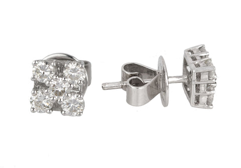 Ladies Solid 18k 750 White Gold 0.78ctw Diamond Cluster 6mm Square Stud Earrings