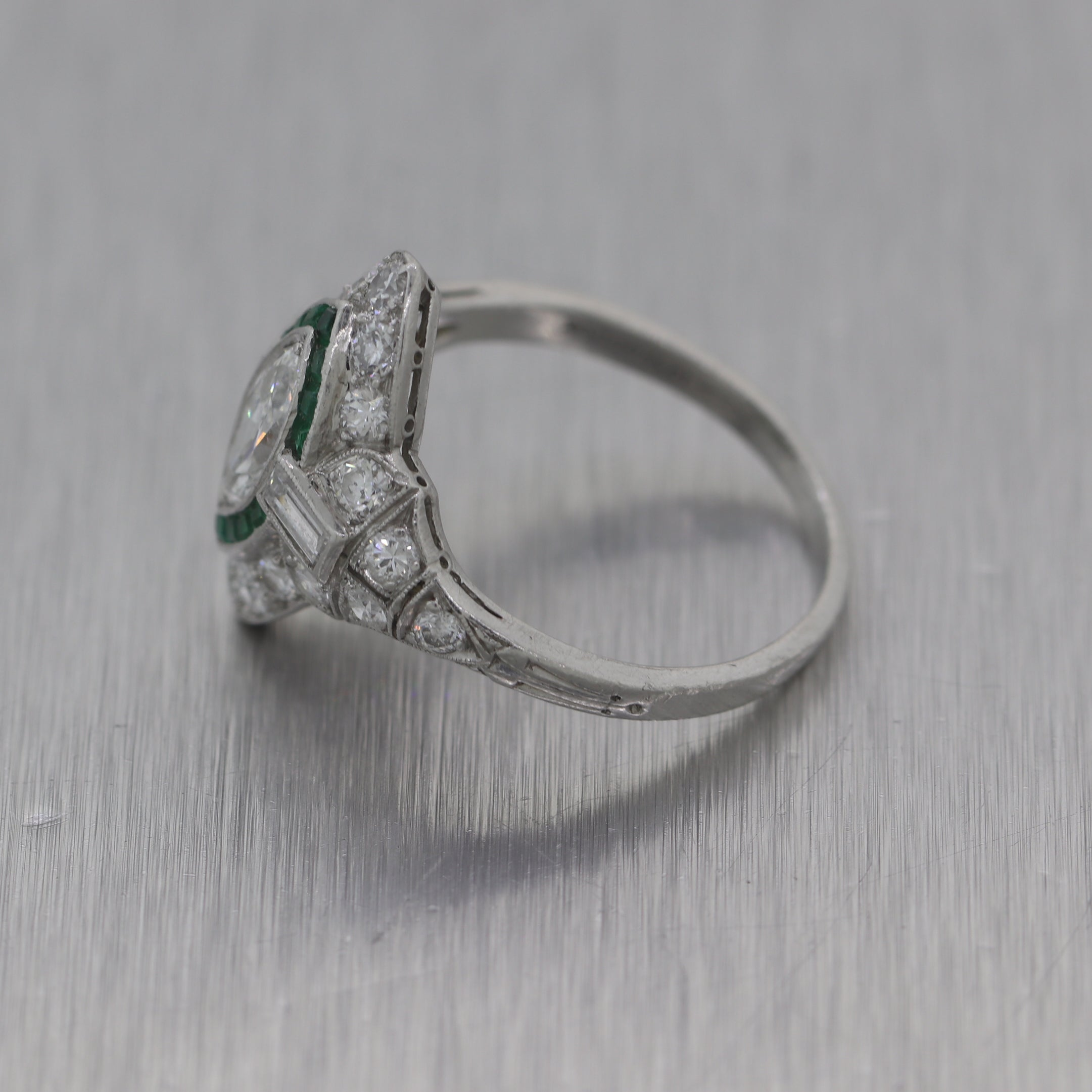 1930's Antique Art Deco Platinum 1ctw Emerald & Diamond Ring